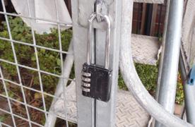 足場入口の施錠